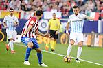 Atletico de Madrid's player Juanfran Torres and Malaga CF Ignacio Camacho during a match of La Liga Santander at Vicente Calderon Stadium in Madrid. October 29, Spain. 2016. (ALTERPHOTOS/BorjaB.Hojas)