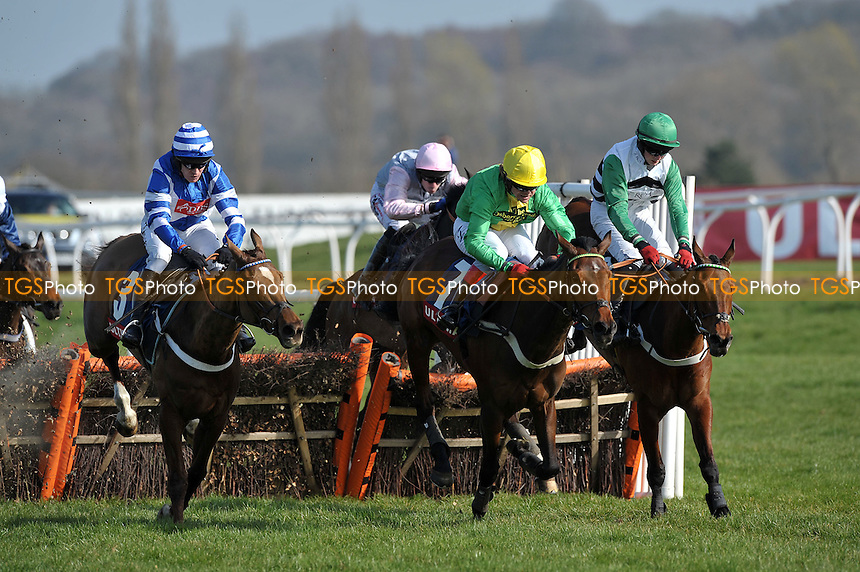 """Tante Sissi ridden by Robert Thornton (centre) beats Heather Royal and Barry Garaghty (left) in the EBF Ultima Business Solutions Mares´ """"National Hunt"""" Novices´ Hurdle Finale (Limited H´cap) (Listed) Cl1 2m5f CH4 - Horse Racing at Newbury Racecourse, Berkshire - 24/03/2012 - MANDATORY CREDIT: Martin Dalton/TGSPHOTO - Self billing applies where appropriate - 0845 094 6026 - contact@tgsphoto.co.uk - NO UNPAID USE."""