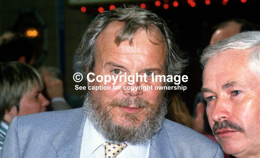 Brian Redhead, author, journalist and broadcaster, at Labour Party Annual Conference. On the right is Doug Hoyle, MP, Labour Party, UK. 19870911BR.<br /> <br /> Copyright Image from Victor Patterson,<br /> 54 Dorchester Park, <br /> Belfast, UK, BT9 6RJ<br /> <br /> t1: +44 28 9066 1296 (from Rep of Ireland 048 9066 1296)<br /> t2: +44 28 9002 2446 (from Rep of Ireland 048 9002 2446)<br /> <br /> m: +44 7802 353836<br /> <br /> e: victorpatterson@me.com<br /> www.victorpatterson.com<br /> <br /> Please see my Terms and Conditions of Use at www.victorpatterson.com. It is IMPORTANT that you familiarise yourself with them.<br /> <br /> Images used on the Internet must be visibly watermarked i.e. &copy; Victor Patterson<br /> within the body of the image and copyright metadata must not be deleted. Images <br /> used on the Internet have a size restriction of 4kbs and will be chargeable at current<br />  NUJ rates unless agreed otherwise.<br /> <br /> This image is only available for the use of the download recipient i.e. television station, newspaper, magazine, book publisher, etc, and must not be passed on to any third <br /> party. It is also downloaded on condition that each and every usage is notified within 7 days to victorpatterson@me.com<br /> <br /> The right of Victor Patterson to be identified as the author is asserted in accordance with The Copyright Designs And Patents Act (1988). All moral rights are asserted.