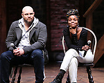 "Greg Treco and Denee Benton during the ""Hamilton"" eduHAM Student Matinee Q & A  at the Richard Rodgers Theatre on February 13, 2019 in New York City."