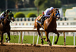 ARCADIA, CA - APRIL 07: Justify #6 with Mike Smith pull away from Bolt d'Oro #3 and Javier Castellano to win the Santa Anita Derby at Santa Anita Park on April 07, 2018 in Arcadia, California.(Photo by Alex Evers/Eclipse Sportswire/Getty Images)