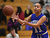 Ishanti Gumbs #11 of Riverhead takes an inbounds pass during a Suffolk County League II girls basketball game against host Northport High School on Friday, Dec. 14, 2018.
