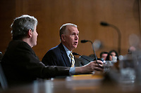 United States Senator Thom Tillis (Republican of North Carolina) speaks as Judy Shelton and Dr. Christopher Waller, nominees to be on the Board of Governors of the Federal Reserve System, testify before the U.S. Senate Committee on Banking, Housing, and Urban Affairs at the United States Capitol in Washington D.C., U.S., on Thursday, February 13, 2020.<br /> <br /> Credit: Stefani Reynolds / CNP/AdMedia