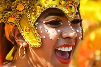 BARRANQUILLA - COLOMBIA, 22-02-2020: Una comparsa de Congos durante el desfile Batalla de Flores del Carnaval de Barranquilla 2019, patrimonio inmaterial de la humanidad, que se lleva a cabo entre el 22 y el 25 de febrero de 2020 en la ciudad de Barranquilla. / A troupe of Congos during the Batalla de las Flores as part of the Barranquilla Carnival 2020, intangible heritage of mankind, that be held between March 22 to 25, 2020, at Barranquilla city. Photo: VizzorImage / Alfonso Cervantes / Cont.