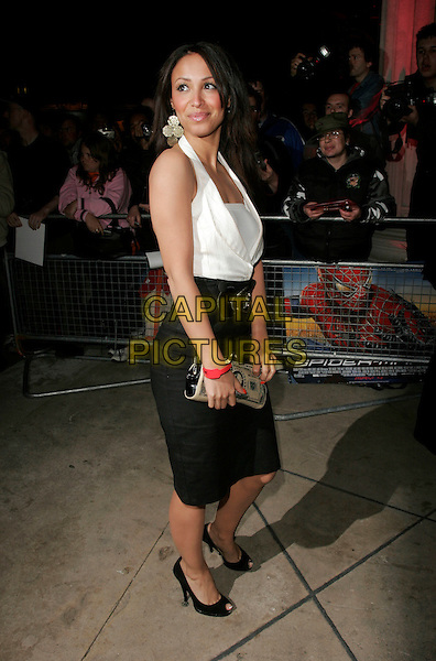 "AMELLE BERRABAH - SUGABABES.Arrivals at the ""Spider-Man 3"" afterparty held at The Freemasons' Hall, Holborn, London, England..April 23rd, 2007.spiderman spider man full length white top black belt money cash clutch purse bag haclterneck skirt.CAP/AH.©Adam Houghton/Capital Pictures"