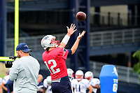 July 27, 2017: New England Patriots quarterback Tom Brady (12) catches the ball over his shoulder at the New England Patriots training camp held on the practice field at Gillette Stadium, in Foxborough, Massachusetts. Eric Canha/CSM