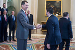 King Felipe VI of Spain received in audience to the champion  of the 80th edition of the cup of your R.M. The King, Real Madrid Basketball at Zarzuela Palace in Madrid. February 25, 2016 (ALTERPHOTOS/BorjaB.Hojas)