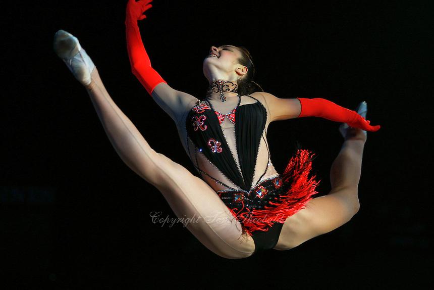"Anna Bessonva of Ukraine split leaps during gala exhibition at 2007 World Cup Kiev, ""Deriugina Cup"" in Kiev, Ukraine on March 16, 2007."
