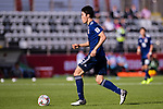 Tomiyasu Takehiro of Japan runs with the ball during the AFC Asian Cup UAE 2019 Group F match between Japan (JPN) and Turkmenistan (TKM) at Al Nahyan Stadium on 09 January 2019 in Abu Dhabi, United Arab Emirates. Photo by Marcio Rodrigo Machado / Power Sport Images