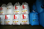 Ammonium nitrate Nitram fertiliser bags stored in a barn