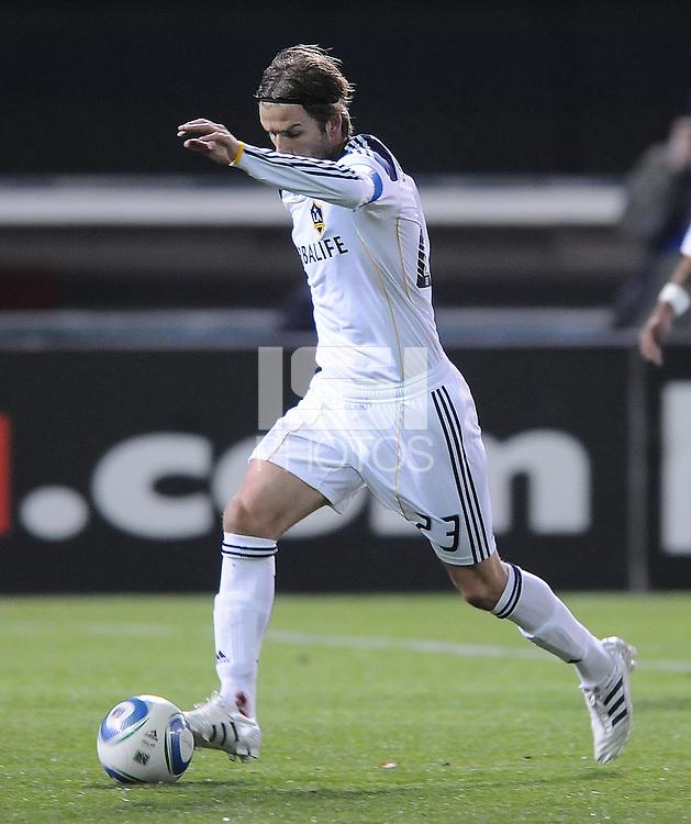 Los Angeles Galaxy midfielder David Beckham (23) bleeding from his right ankle.  DC United tied Los Angeles Galaxy 1-1, at RFK Stadium, Saturday April 9, 2011.