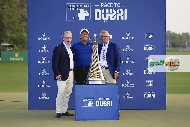 Francesco Molinari (ITA) winner of the Race to Dubai at the season ending DP World Tour Championship, Jumeirah Golf Estates, Dubai, United Arab Emirates. 18/11/2018<br /> Picture: Golffile | Fran Caffrey<br /> <br /> <br /> All photo usage must carry mandatory copyright credit (© Golffile | Fran Caffrey)