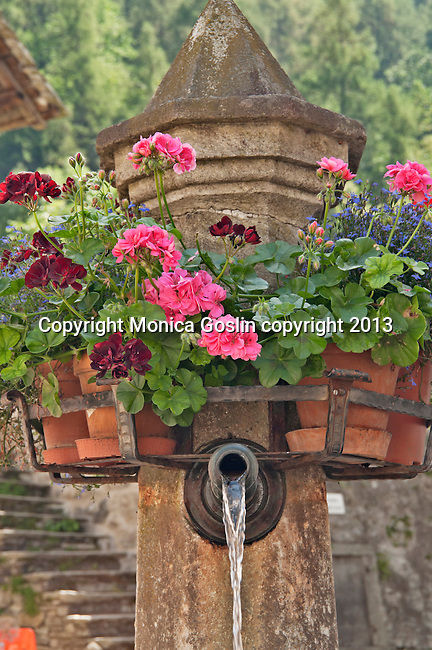 Old stone fountain with red flowers around the center in Bondo, a Swiss Bregaglia Valley town, where the houses date back to the 16th century