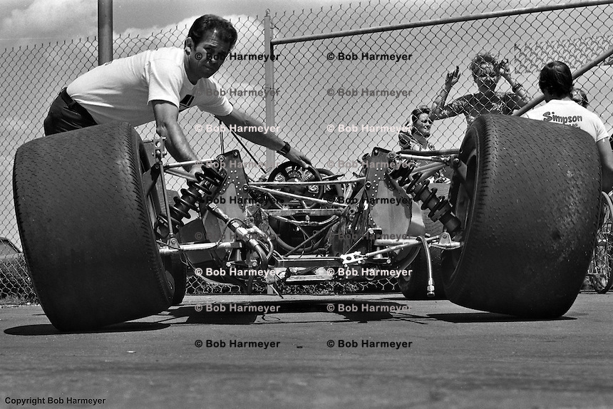 """Rolling chassis"" in the garage area at the 1977 Indianapolis 500."