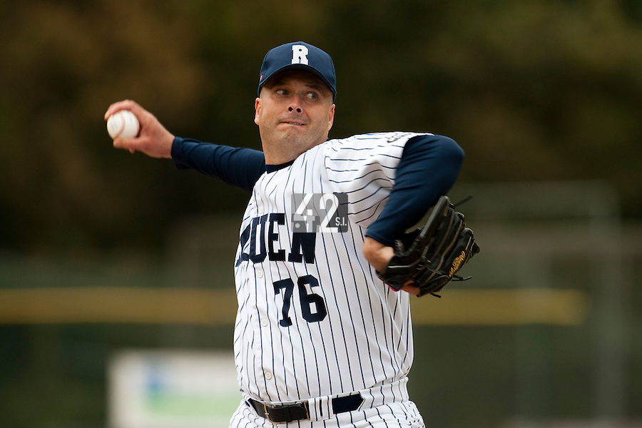 03 october 2009: Starting pitcher Robin Roy of Rouen pitches against Savigny during game 1 of the 2009 French Elite Finals won 6-5 by Rouen over Savigny in the 11th inning, at Stade Pierre Rolland stadium in Rouen, France.