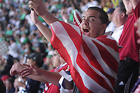 United States Men's National team fans cheer during the game at Azteca stadium. The United States Men's National Team played Mexico in a CONCACAF World Cup Qualifier match at Azteca Stadium in, Mexico City, Mexico on Wednesday, August 12, 2009.