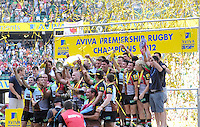 Aviva Premiership Final .Twickenham, England.  Harlequins players celebrate with the trophy following their team's victory during the Aviva Premiership final between Harlequins and Leicester Tigers at Twickenham Stadium on May 26, 2012 in London, England.