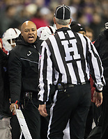 Stanford coach David Shaw expresses his displeasure to a referee.