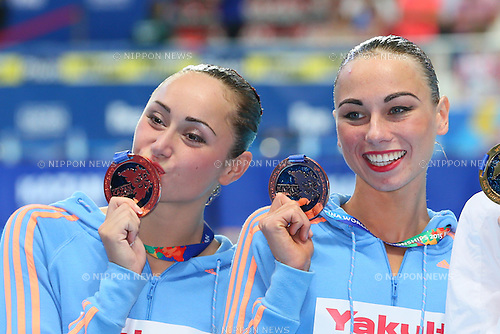 Lolita Ananasova & Anna Voloshyna (UKR), JULY 30, 2015 - Synchronised Swimming : 16th FINA World Championships Kazan 2015 Duets Free Routine Medal Ceremony  at Kazan Arena in Kazan, Russia. (Photo by Yohei Osada/AFLO SPORT)