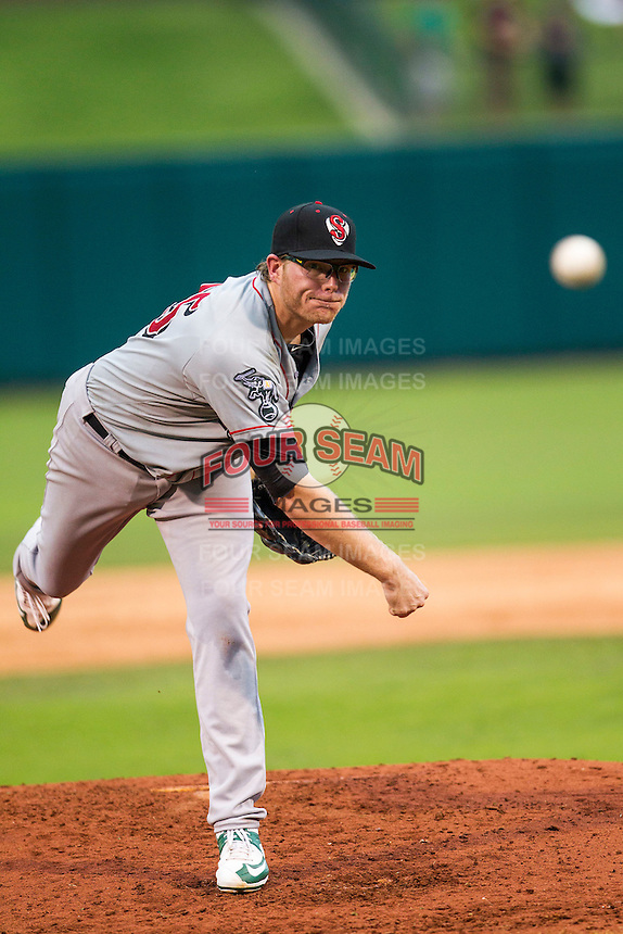 Nashville Sounds pitcher A.J. Griffin (25) delivers a pitch to the plate during the Pacific Coast League baseball game against the Oklahoma City Dodgers on June 12, 2015 at Chickasaw Bricktown Ballpark in Oklahoma City, Oklahoma. The Dodgers defeated the Sounds 11-7. (Andrew Woolley/Four Seam Images)