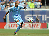 Jason Hernandez #2 of NYC Football Club passes downfield during a Major League Soccer match against the New York Red Bulls at Yankee Stadium on Sunday, July 3, 2016. NYCFC won by a score of 2-0.
