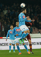 Gonzalo Higuain    in action during the Italian Serie A soccer match between SSC Napoli and AS Roma   at San Paolo stadium in Naples, March 09 , 2014