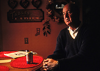 FREMONT, CA - Al Mangin sits in the kitchen with a Hamms beer in 1987 in Fremont, California. (Photo by Brad Mangin)