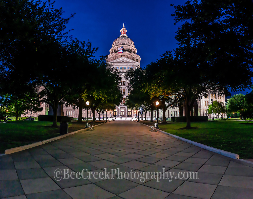 This is the Texas Capital or Capitol at night in a panorama.  The Texas Capitol is located in downtown Austin and is one of the most popular destination for toursits and locals to visit. It is a Texas landmark with a lot of historical signficant to the area.