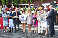 Sadler's Joy (no. 3), ridden by Julien Leparoux and trained by Thomas Albertani, wins the 43rd running of the grade 1 Sword Dancer Stakes for three year olds and upward on August 26, 2017 at Saratoga Race Course in Saratoga Springs, New York. (Bob Mayberger/Eclipse Sportswire)