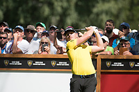 Matt Wallace (ENG) watches his tee shot on the 6th hole during second round at the Omega European Masters, Golf Club Crans-sur-Sierre, Crans-Montana, Valais, Switzerland. 30/08/19.<br /> Picture Stefano DiMaria / Golffile.ie<br /> <br /> All photo usage must carry mandatory copyright credit (© Golffile | Stefano DiMaria)