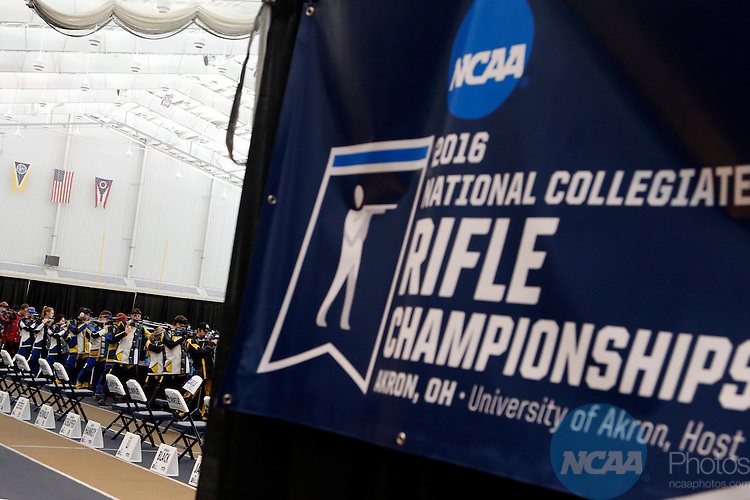 12 MAR 2016:  Competitors shoot during the NCAA Division I Men's and Women's Rifle Championship held at the Stile Athletics Field House in Akron, OH.  Jay LaPrete/NCAA Photos
