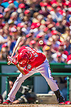 27 April 2014: Washington Nationals catcher Anthony Rendon dodges an Ian Kennedy inside and high pitch in the first inning against the San Diego Padres at Nationals Park in Washington, DC. The Padres defeated the Nationals 4-2 to to split their 4-game series. Mandatory Credit: Ed Wolfstein Photo *** RAW (NEF) Image File Available ***