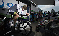 Luke Durbridge (AUS/Orica-GreenEDGE) warming up while staying cooled (air-conditioned?) in the (un-typically dutch) searing heat of 33&deg;C.<br /> <br /> stage 1 prologue: Utrecht (13.8km)<br /> Tour de France 2015