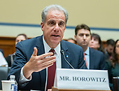 """Michael Horowitz , Inspector General, Department of Justice, on behalf of Chairman, Council of the Inspectors General on Integrity and Efficiency, testifies before the United States House Committee on Oversight and Reform, Government Operations Subcommittee on """"Overseeing the Overseers: Council of the Inspectors General on Integrity and Efficiency @ 10 Years"""" on Capitol Hill in Washington, DC on Wednesday, September 18, 2019.<br /> Credit: Ron Sachs / CNP"""