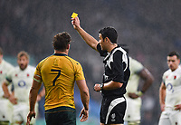 Michael Hooper of Australia is shown a yellow card by the referee. Old Mutual Wealth Series International match between England and Australia on November 18, 2017 at Twickenham Stadium in London, England. Photo by: Patrick Khachfe / Onside Images