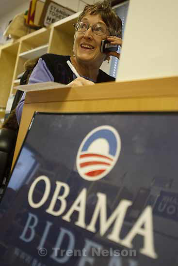 """June Taylor making phone calls during Utah Organizing for America's """"Time to Deliver"""" event, in which seniors call friends and neighbors to rally support for health care reform. Tuesday, October 20 2009 in Salt Lake City."""
