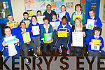 REWARDED: Pupils who were presented with their prizes on winning the Tidy Towns/Litter Campagin at the CBS Clounalour, Tralee on Tuesday from Brendan Murphy (litter Warden TTC), Joan O'Regan and Kit Ryanm (Tidy Towns) Logan Clifford, Muhammad,Herrietta Adede, Carl Dziedziuch, Amy O'Connor, Nikola Wojtusik, Shoun Kedierski, Wiktoria Depta, Gearóid Costelo, Zac Boyle, Ashling Walsh, Saoirse Horgan and Niamh O'Dowd (Teacher).