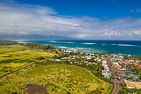Aerial view of Pa'ia Town and coastline, Maui.