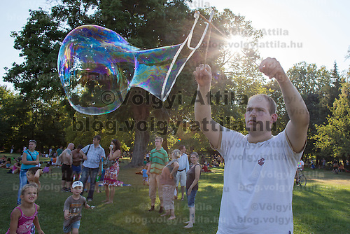 Man blows soap bubbles during a soap bubble day in a public park in Budapest, Hungary on August 19, 2012. ATTILA VOLGYI