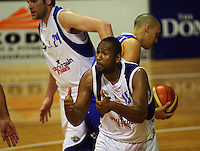 Stars guard George Baker appeals to the referee after losing the ball during the NBL Round 14 basketball match between the Wellington Saints and Auckland Stars at TSB Bank Arena, Wellington, New Zealand on Thursday 29 May 2008. Photo: Dave Lintott / lintottphoto.co.nz