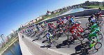 The peloton ride past Pavia during the 2016 Milan-San Remo race, running 293km from Milan to San Remo, Italy. 19th March 2016.<br /> Picture: ANSA/Claudio Peri | Newsfile<br /> <br /> <br /> All photos usage must carry mandatory copyright credit (© Newsfile | Claudio Peri)