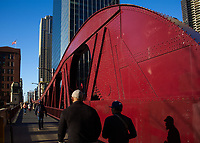 Red-painted structural beam on Clark Street Bridge, Chicago, Illinois, USA