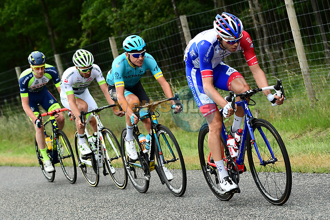 The breakaway group featuring Nikita Stalnov (KAZ) Astana Pro Team, Pierre-Luc Perichon (FRA) Fortuneo-Samsic,   Frederik Backaert (BEL) Wanty-Groupe Gobert and Antoine Duchesne (CAN Groupama-FDJ 6' ahead during Stage 2 of the 2018 Criterium du Dauphine 2018 running 181km from Montbrison to Belleville, France. 5th June 2018.<br /> Picture: ASO/Alex Broadway | Cyclefile<br /> <br /> <br /> All photos usage must carry mandatory copyright credit (© Cyclefile | ASO/Alex Broadway)