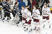 The Friar seniors skated over and shook hands with the BC seniors following the senior ceremony. - The Boston College Eagles defeated the visiting Providence College Friars 7-1 on Friday, February 19, 2016, at Kelley Rink in Conte Forum in Boston, Massachusetts.