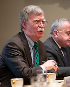National Security Advisor John R. Bolton makes remarks as United States President Donald J. Trump participates in an expanded bilateral meeting with Jens Stoltenberg, Secretary General of the North Atlantic Treaty Organization (NATO) in the Cabinet Room of the White House in Washington, DC on Tuesday, April 2, 2019.<br /> Credit: Ron Sachs / Pool via CNP