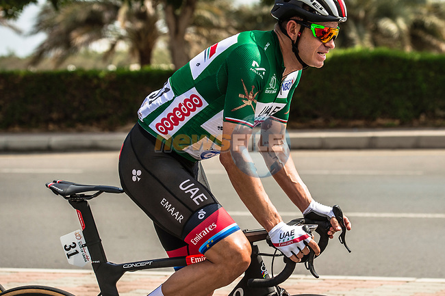 Alexander Kristoff (NOR) UAE Team Emirates wearing the Green Jersey during Stage 6 of the 10th Tour of Oman 2019, running 135.5km from Al Mouj Muscat to Matrah Corniche, Oman. 21st February 2019.<br /> Picture: ASO/Kåre Dehlie Thorstad | Cyclefile<br /> All photos usage must carry mandatory copyright credit (© Cyclefile | ASO/Kåre Dehlie Thorstad)