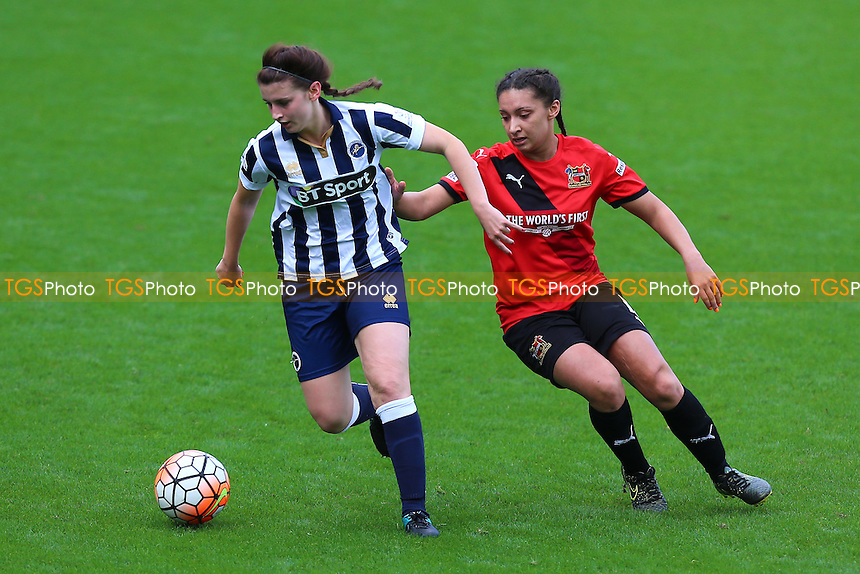 Jordon Butler of Millwall evades Rhema Lord-Mears of Sheffield during Millwall Lionesses vs Sheffield FC Ladies, FA Women's Super League FA WSL2 Football at The Den on 9th October 2016