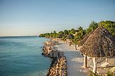 ZANZIBAR, Nungwi Beach, Beach Huts and Palm Trees at the beach of Gema Resort