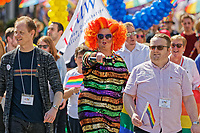 Pictured: Pride parade travels through the streets of Swansea, Wales, UK. Saturday 05 May 2018<br /> Re: Spring Pride has brought a celebration of colour to the streets of Swansea in Wales, UK.<br /> Rainbow flags were flown in support of the LGBT community at the event, which is designed to raise awareness and is open to anyone to take part in.