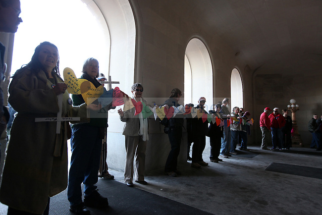 Support teams hold signs thanking those at the capitol building in Frankfort during doing the sit in protest.  Photo by Britney McIntosh | Staff